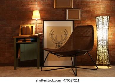 Comfortable chair in room design interior