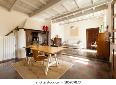 comfortable dining room, interior of a nice loft