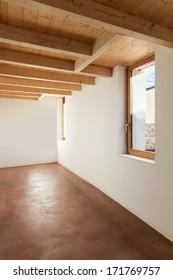 comfortable empty loft, interior, room with windows