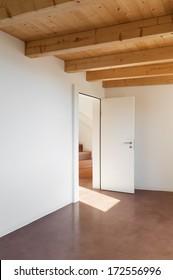 comfortable empty loft, interior, room view