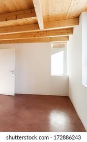 comfortable empty loft, interior, room with door open