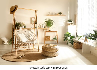 Comfortable hammock chair in stylish room. Interior design