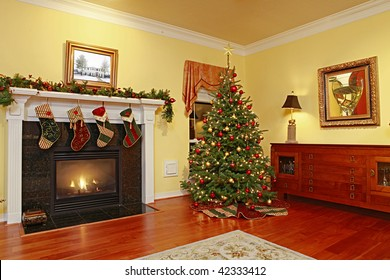 Comfortable Home with Fire Place and Christmas Tree