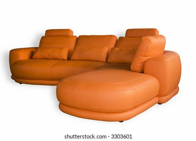 Comfortable leather sofa isolated on white background
