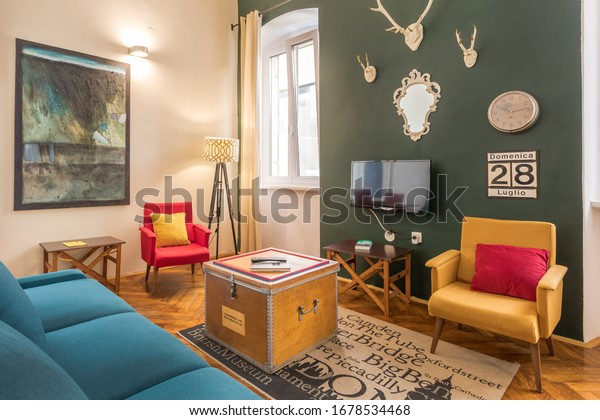 Comfortable living room in beautiful Pula, Croatia during August in 2018.