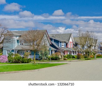 Comfortable neighborhood. Some middle class homes in the suburbs of the North America. Canada.
