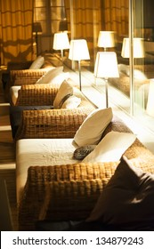 comfortable night interior illuminated by electric light