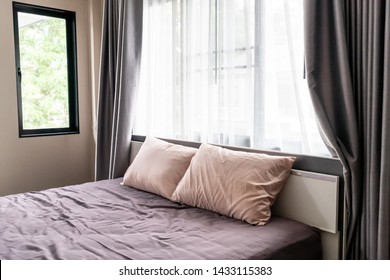 comfortable pillow on bed interior decoration in bedroom