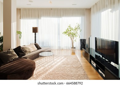Comfortable place in living room with long sofa , little table near and tv set against. Lighting room with big windows and many plants in pots.