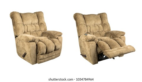 Comfortable recliner massage seat isolated on white background