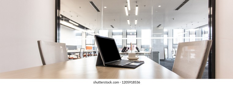 Comfortable seat, laptop and coffee cup,fashion and modern office interiors