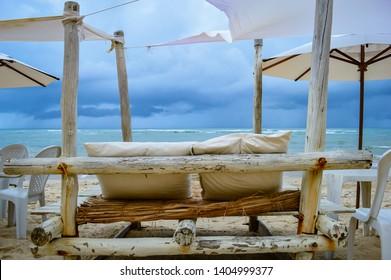 Comfortable Seats in Mucugê Beach, a Paradise Beach in Arraial d'Ajuda, Tropical Summer Destination in Bahia, Brazil