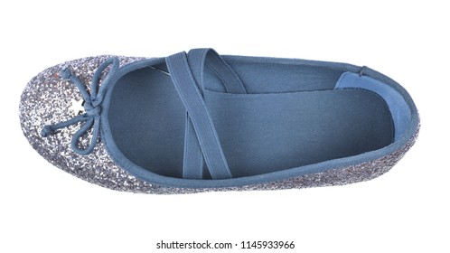 Comfortable shimmer silver blue ballerina flat shoe with a small bow, crossed elastic drawstrings and soft cotton lining on white background