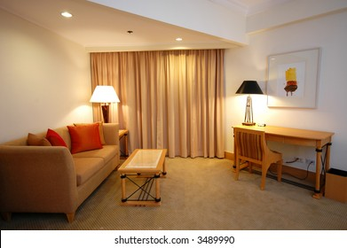 A comfortable sofa in a lounge setting