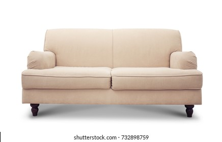 Comfortable sofa on white background