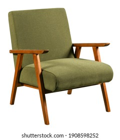 Comfortable soft retro style armchair with wooden armrests and green fabric seat isolated on white background