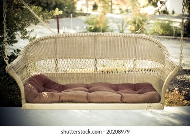 a comfortable swing bench at a honeymoon location