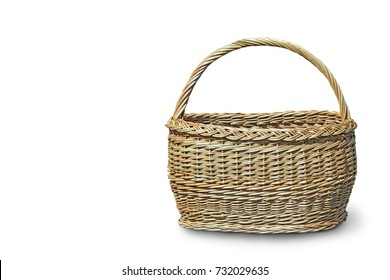 Comfortable wicker basket on a white background.