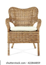 Comfortable wicker chair isolated on white