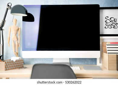 Comfortable workplace with computer monitor