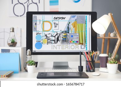 Comfortable workplace of interior designer in office