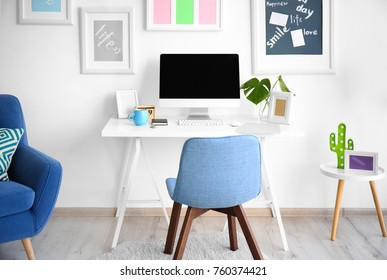 Comfortable workplace with modern computer indoors