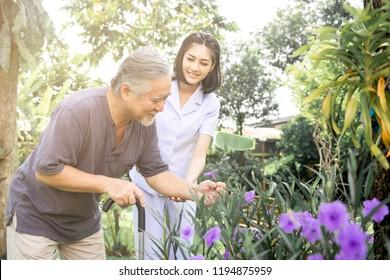 Comforting hand. Young nurse holding old man's shoulder in outdoor garden looking at flower. Senior care, care taker and senior retirement home service concept.