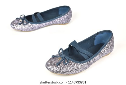 Comfy shimmer silver blue ballerina flats with crossed elastic drawstrings and soft cotton lining - on white background