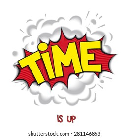 Comic bang with lettering - TIME and realistic puffs smoke. Pop art speech bubble