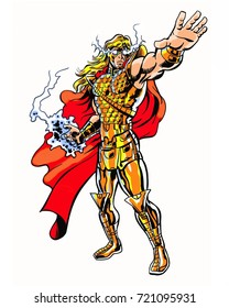 Comic book illustrated cosmic warrior god character in energy pose