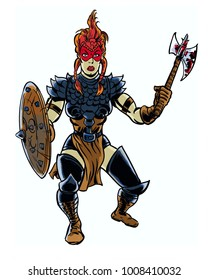 Comic book illustrated Viking woman warrior in attack pose.