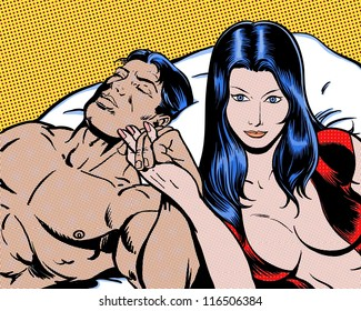 comic book pop art illustration of lovers in bed
