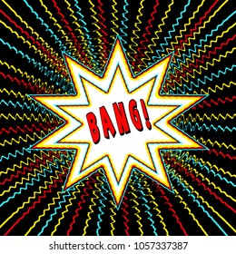 Comic Book Style background with star burst with bright colorful zig zag lines and text with either zap, wham, power, bang in the center of star burst and one without text.