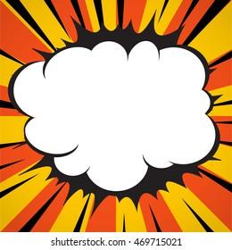Comic book superhero explosion cloud pop art style yellow radial lines background.