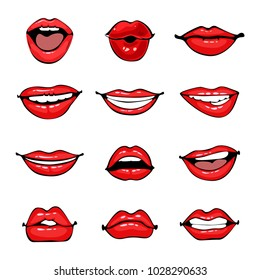 Comic female lips set. Smile, angry, kiss, flirt open and close mouth. Colorful illustration in pop art retro comic style.