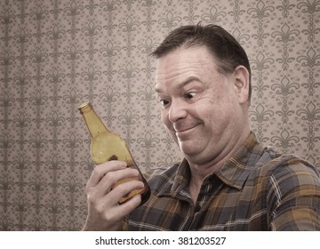 Comic Middle Aged Man Drinking Beer in front of Damask Wallpaper Pattern
