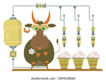 Comic milk farm and cow illustration. Cartoon comic cow being milked by machine and producing milk, cream and yogurt isolated illustration