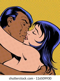 comic pop art illustration of couple in passionate kiss