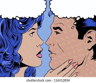 comic pop art illustration of couple in romantic moment gaze