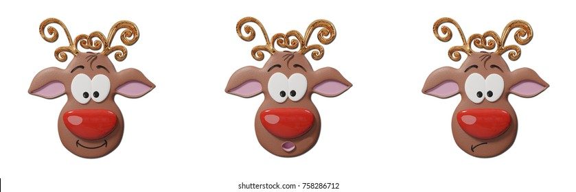 Comic Rudolph Reindeer A trio of expressions from Rudolph the Red Nosed Reindeer - isolated on white. 3d Rendering