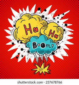 Comic speech bubble colored sketch poster with bomb explosion elements  illustration