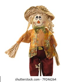 Comic stuffed smiling scarecrow dressed in colorful rag clothes. Pure white background for easy removal. Could be Halloween image.