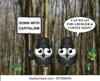 Comical capitalism demonstration with bird demonstrators perched on a tree branch against a blurred woodland background