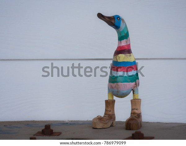 Comical Painted Wooden Duck Boots Stock Photo Edit Now 786979099