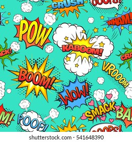 Comics speech and exclamations boom wow bubbles clouds seamless pattern with bright green background abstract  illustration