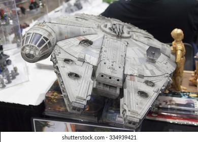 COMIKAZE EXPO, Los Angeles, California, October 30, 2015: Annual Stan Lee's Comikaze Expo at the Los Angeles Convention Center. A replica of the Millenium Falcon from the Star Wars films.
