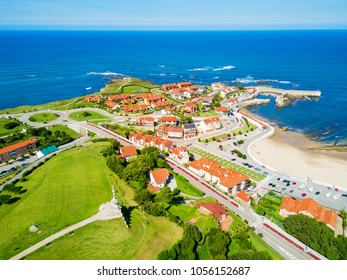 Comillas city aerial panoramic view, Cantabria region of Spain