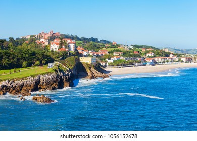 Comillas city cliff aerial panoramic view, Cantabria region of Spain