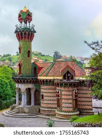 COMILLAS, SPAIN - APRIL 23, 2011: El Capricho, or Villa Quijano, a modernist building designed by Catalan architect Antoni Gaudi  and built between 1883 and 1885