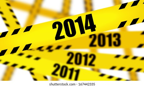 coming in new year Caution tape with 2014. High resolution 3d